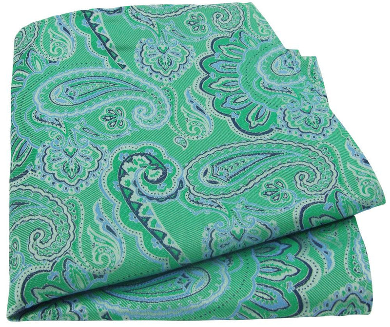 Green Paisley Silk Pocket Square - - - ThreadPepper