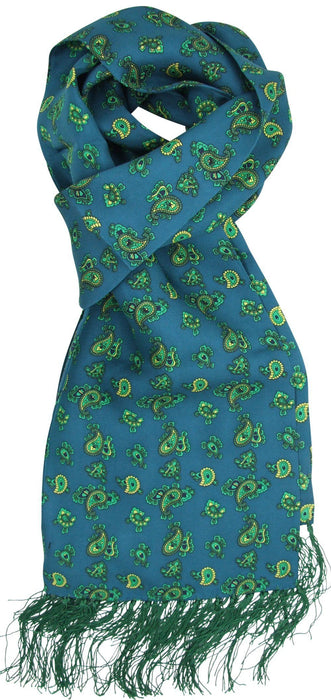 Green Paisley Silk Scarf - Scarves - - ThreadPepper