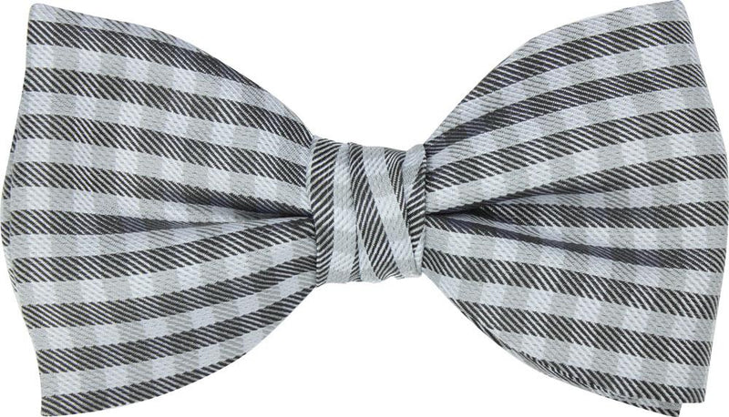 Grey Check Silk Bow Tie - Bow Ties - - ThreadPepper