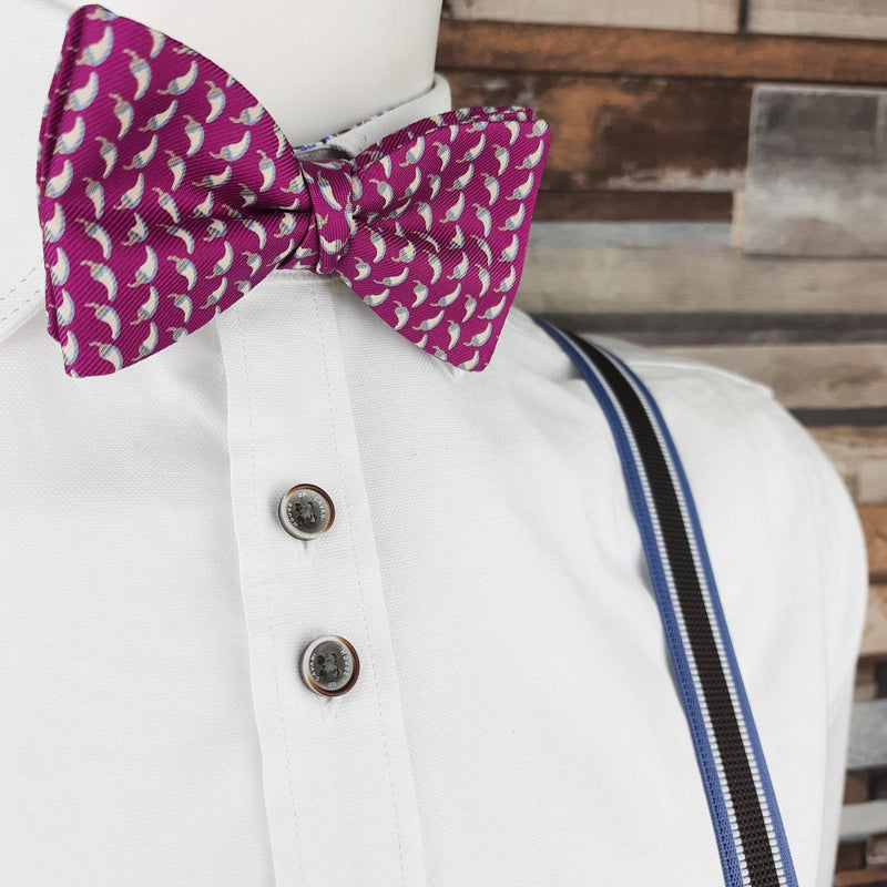 Hot Pink Chilli Peppers Silk Ready-Tied Bow Tie - Bow Ties - - ThreadPepper