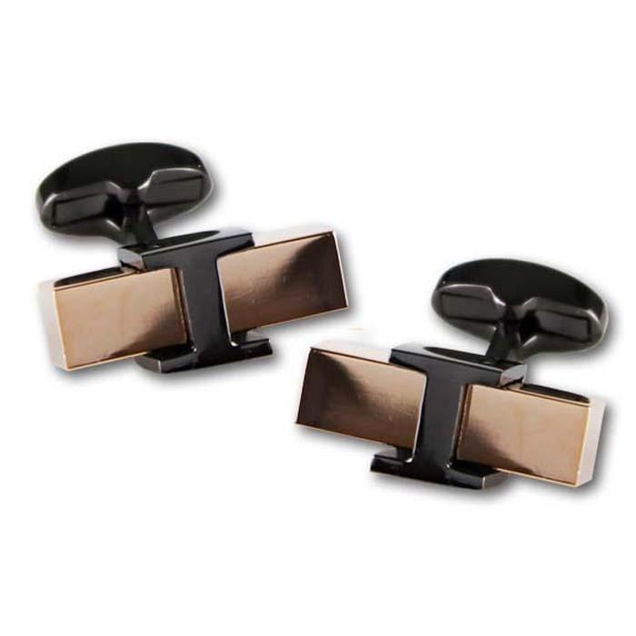 Link Rose Gold Block Gunmetal - Cufflinks - - ThreadPepper