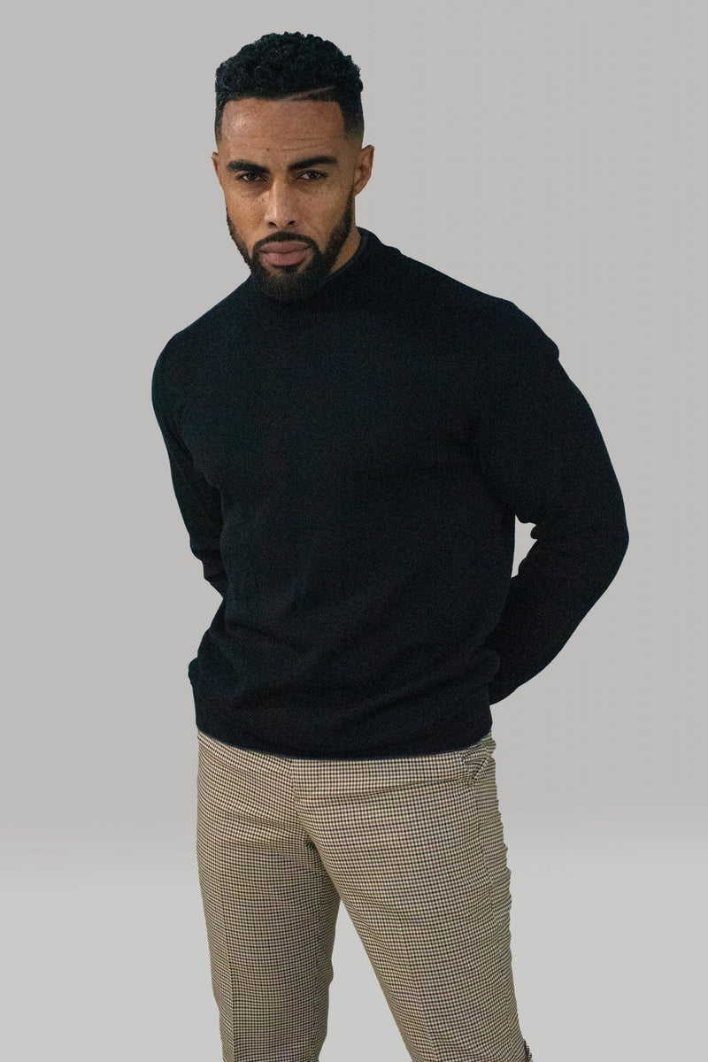 Montana Black Turtleneck Jumper - Knitwear - - ThreadPepper