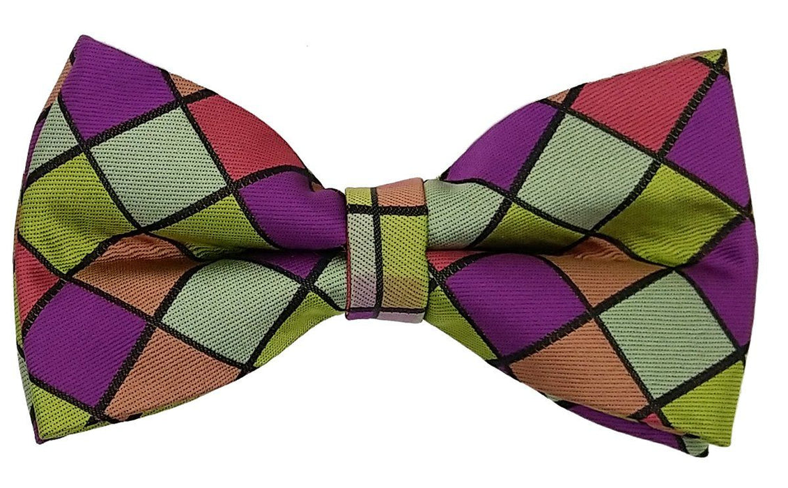 Multi-Coloured Checked Bow Tie - Bow Ties - - ThreadPepper