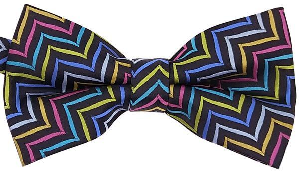 Multi-Coloured Zig Zag Bow Tie - Bow Ties - - ThreadPepper