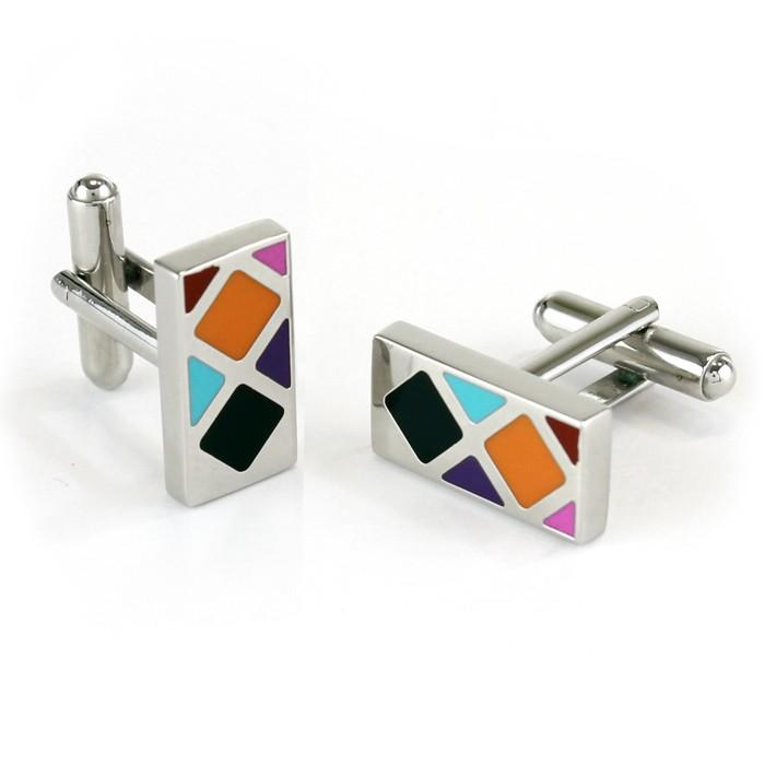 Multicolour Rectangle Silver Cufflinks - Cufflinks - - ThreadPepper