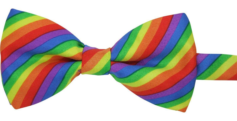 Multicoloured Rainbow Striped Bow Tie - Bow Ties - - ThreadPepper