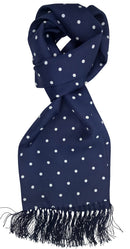 Navy Dot Silk Scarf - Scarves - - ThreadPepper