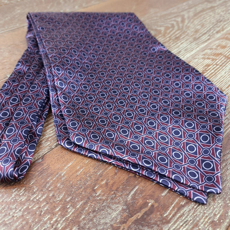 Navy & Wine Mosaic Casual Cravat - Cravats - - ThreadPepper