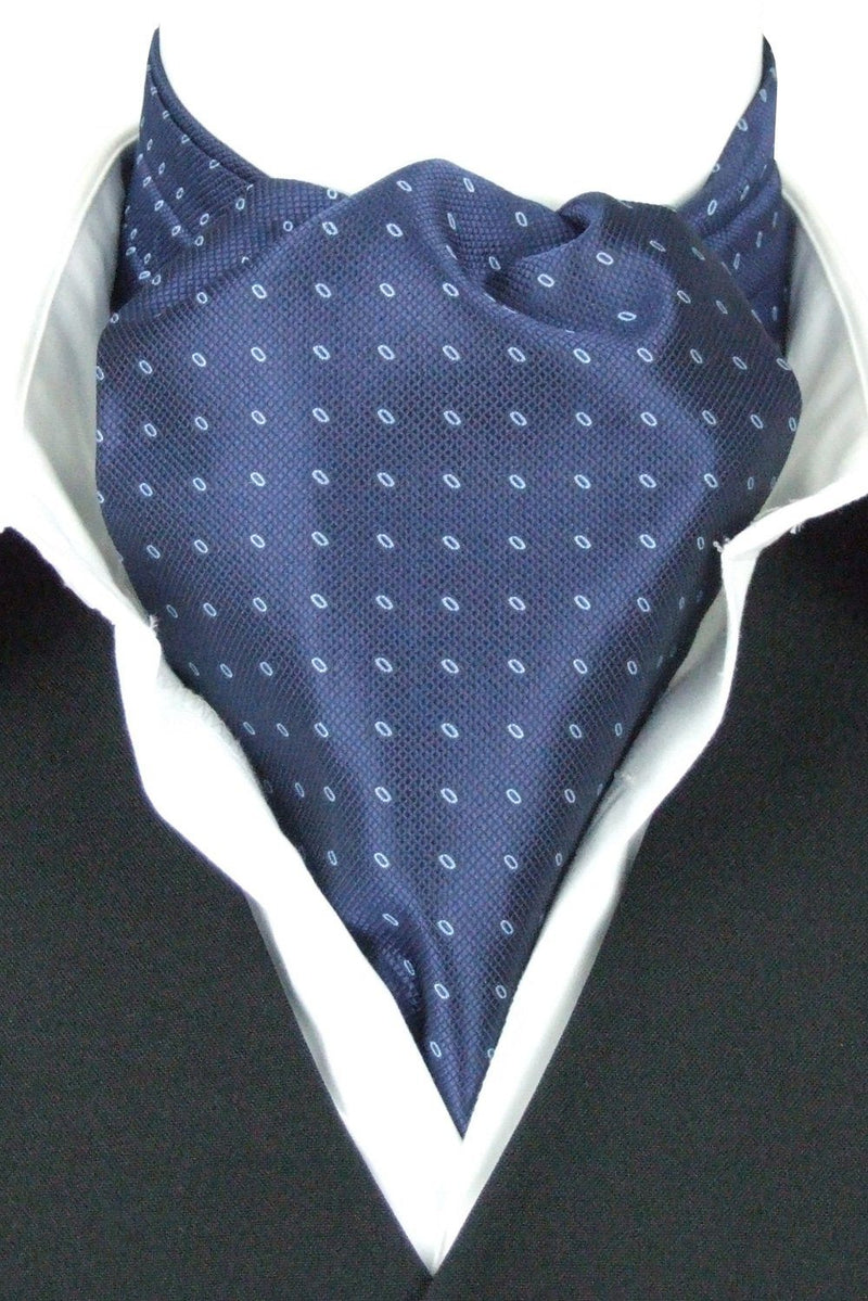 Navy Woven Ovals Cravat - Cravats - - ThreadPepper