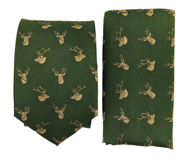 Olive Green Stag Silk Tie & Pocket Square Set - Ties - - ThreadPepper