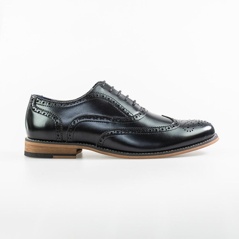 Oxford Black Brogue Shoes - Footwear - - ThreadPepper