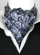 Painted Paisley Navy All Silk Cravat - Cravats - - ThreadPepper