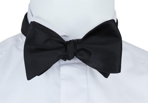Plain Black Extra Long Self-Tie Bow Tie - Bow Ties - - ThreadPepper