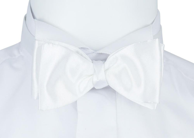 Plain White Extra Long Self-Tie Bow Tie - Bow Ties - - ThreadPepper