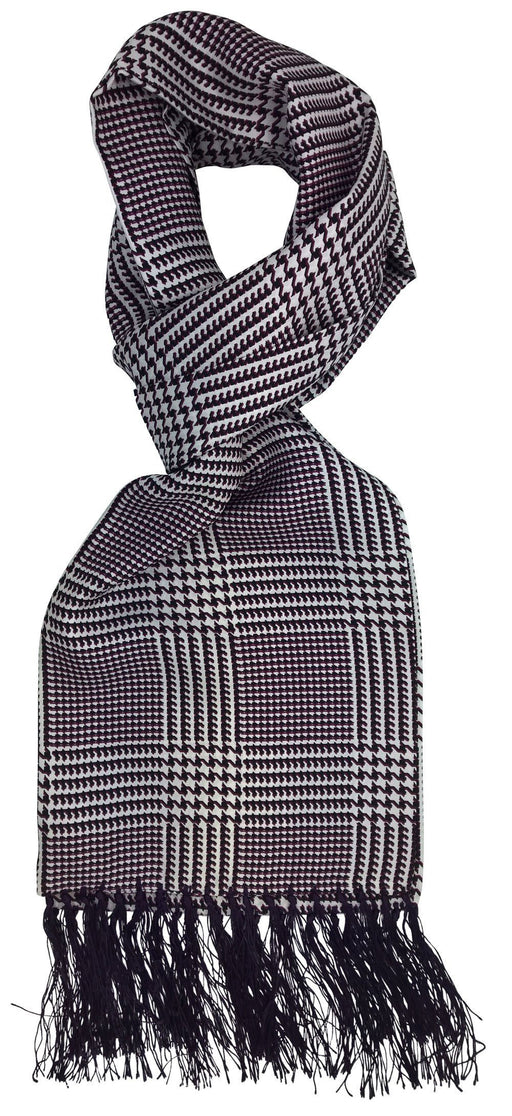 Purple Houndstooth Silk Scarf - Scarves - - ThreadPepper