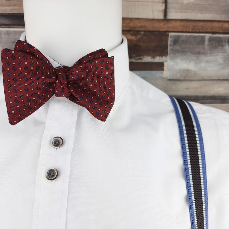 Rectangles on Red Silk Self-Tie Bow Tie - Bow Ties - - ThreadPepper