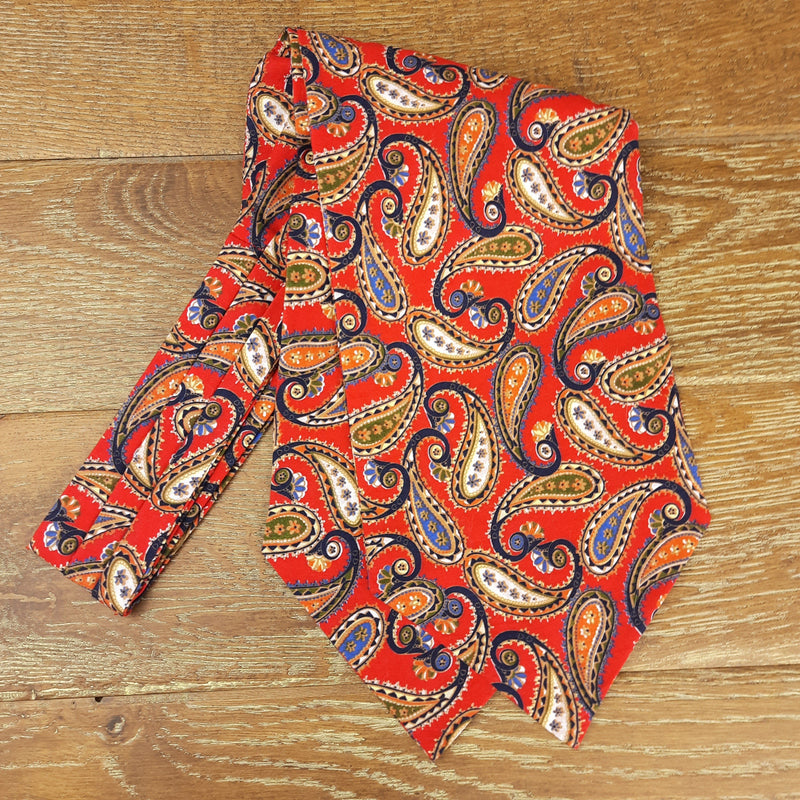 Red & Blue Swirl Paisley Cotton Cravat - Cravats - - ThreadPepper