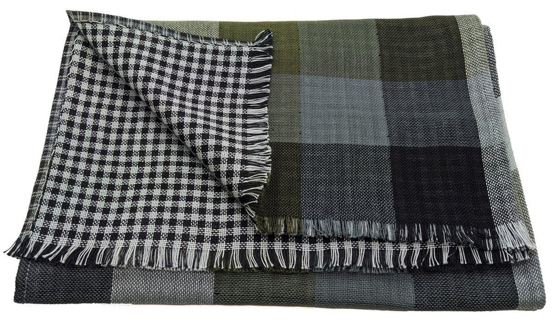 Reversible Green & Black Check Cotton Scarf - Scarves - - ThreadPepper