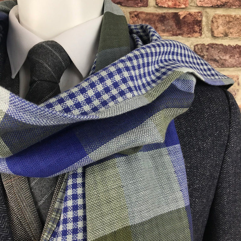 Reversible Green & Blue Check Cotton Scarf - Scarves - - ThreadPepper