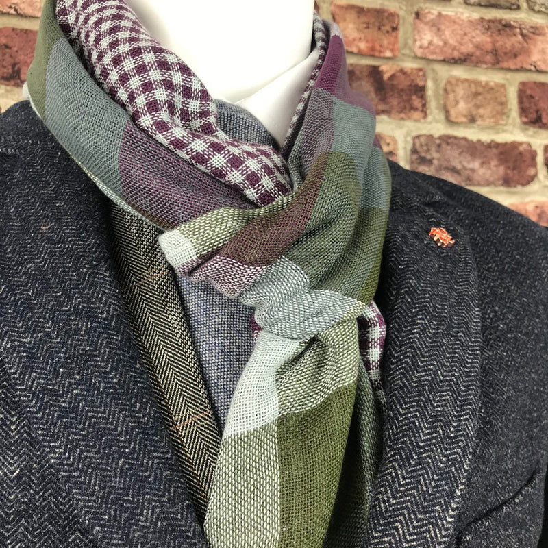Reversible Green & Burgundy Check Cotton Scarf - Scarves - - ThreadPepper