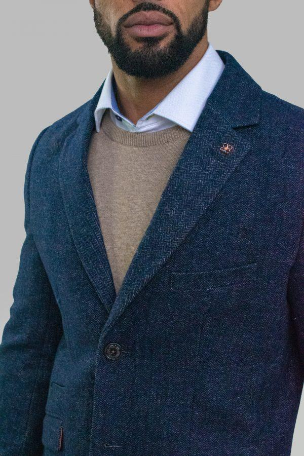 Roman Azure Crombie Overcoat - Coats - - ThreadPepper