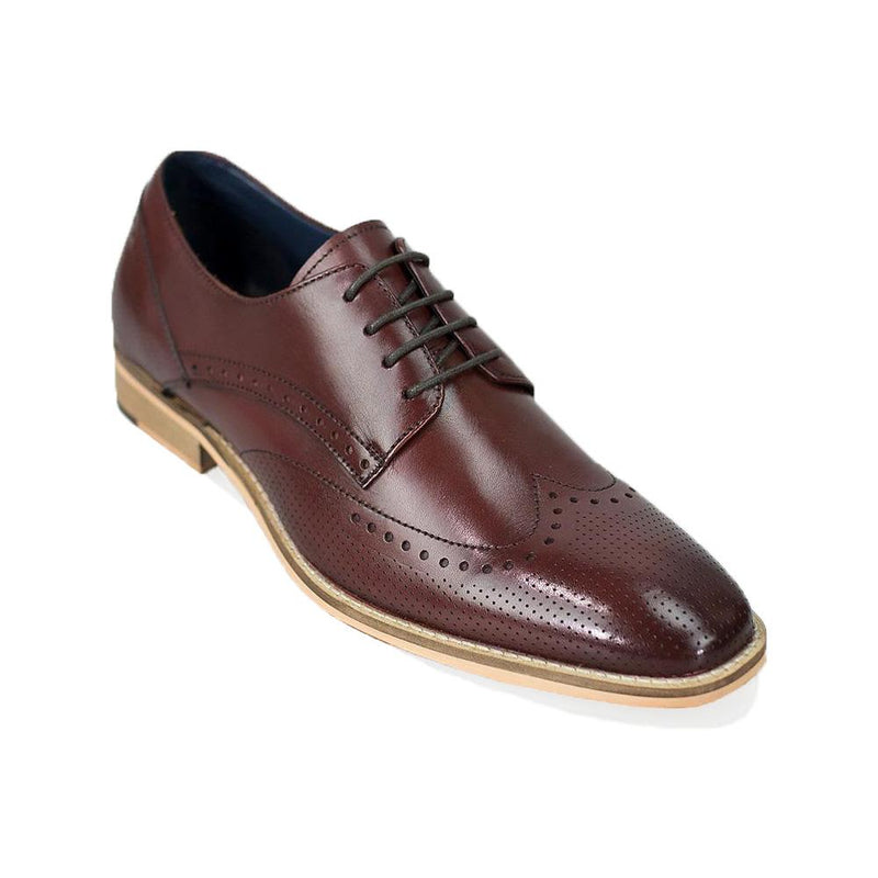 Rome Cherry Red Brogue Shoes - Footwear - - ThreadPepper
