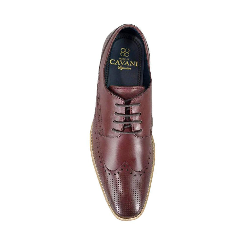Rome Cherry Red Brogue Shoes - Footwear - 7 - ThreadPepper