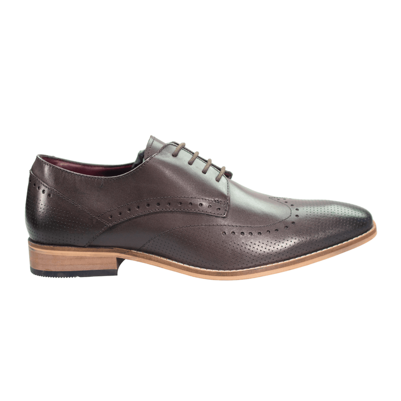 Rome Dark Brown Brogue Shoes - Footwear - - ThreadPepper