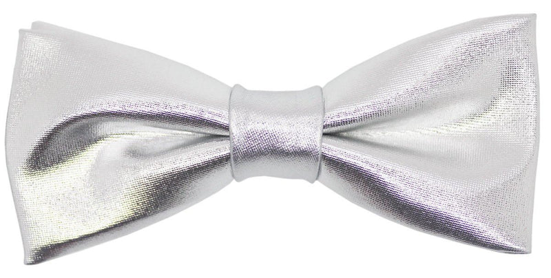 Silver Metallic Pre-Tied Bow Tie - Bow Ties - - ThreadPepper