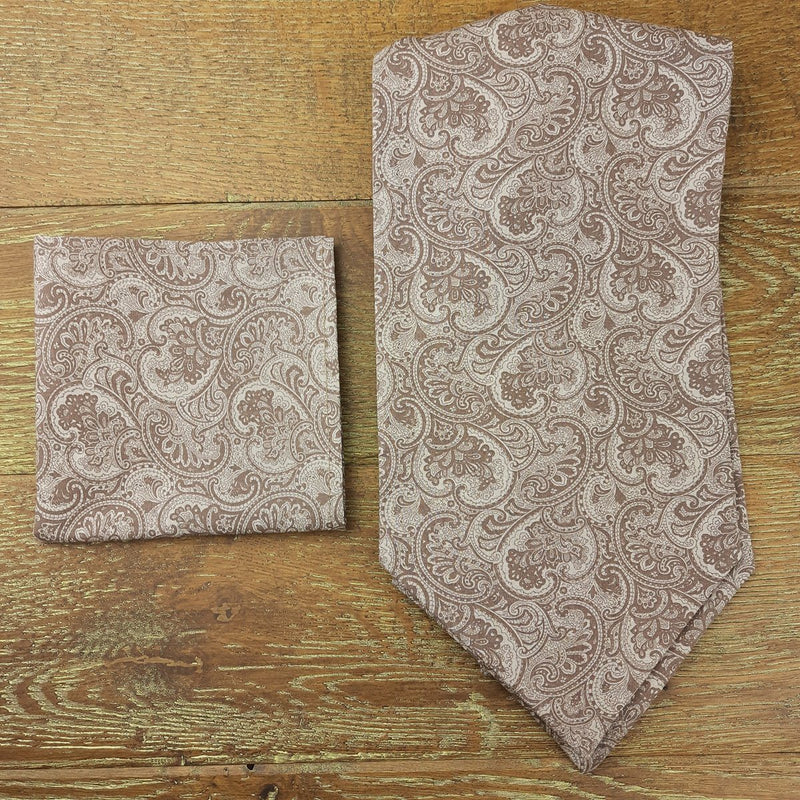 Taupe Floral Paisley Cotton Pocket Square - Handkerchiefs - - ThreadPepper
