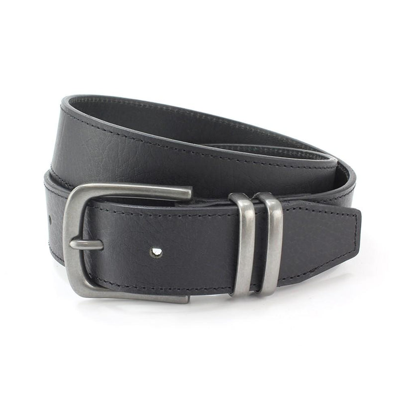 Twin Loop Black Leather Jeans Belt - Belts - - ThreadPepper