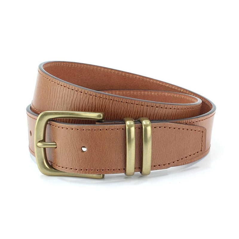 Twin Loop Tan Leather Jeans Belt - Belts - - ThreadPepper