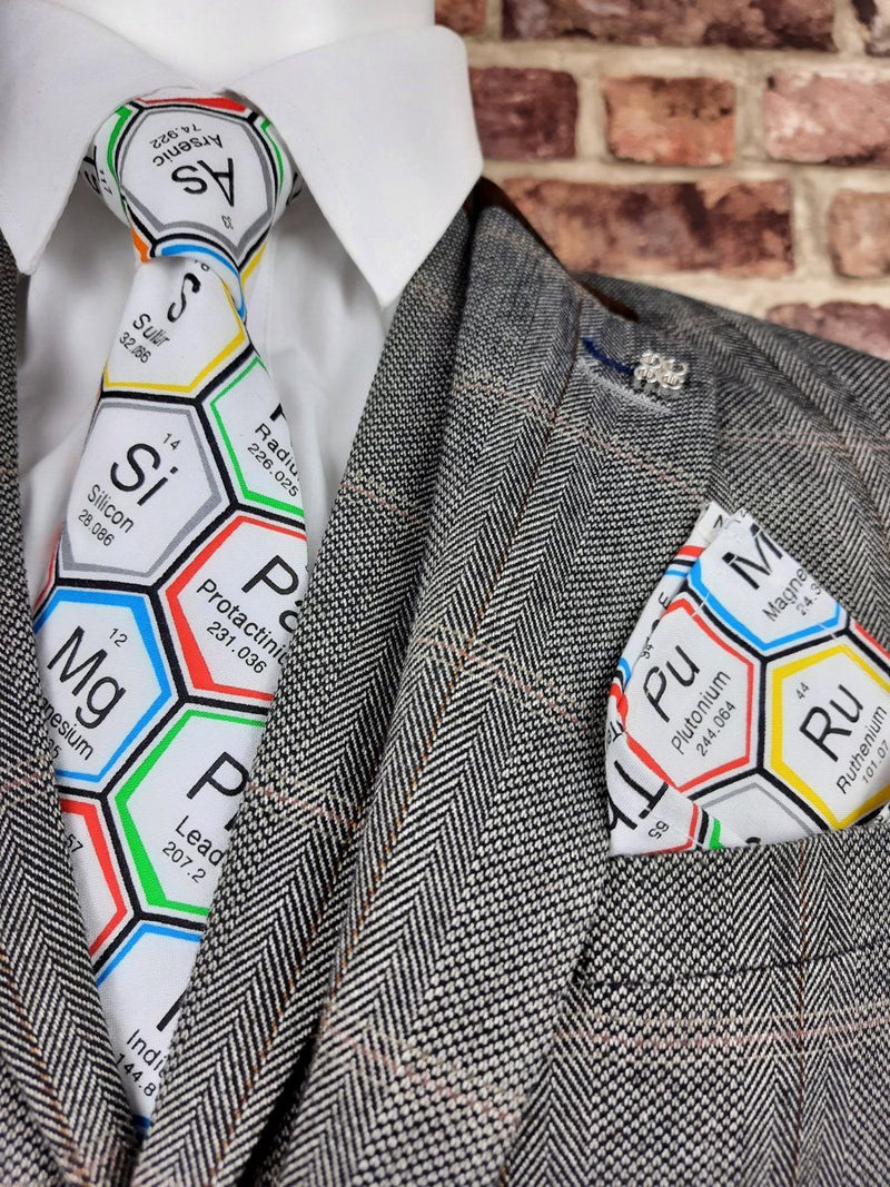 White Periodic Table Science Pocket Square - Handkerchiefs - - ThreadPepper