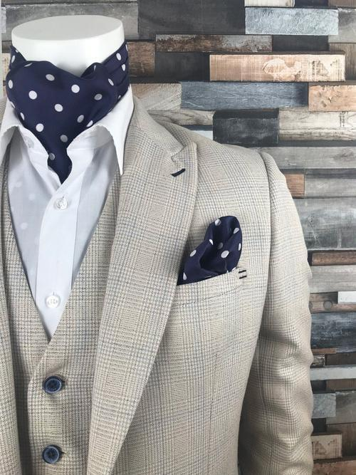 White Polka Dot on Navy Silk Pocket Square - Handkerchiefs - - ThreadPepper