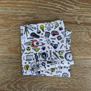 White Science Doodles Pocket Square - Handkerchiefs - - ThreadPepper
