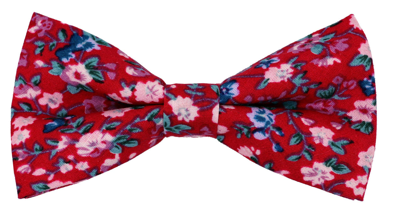 Wine Cotton Ditsy Bow Tie - Bow Ties - - ThreadPepper