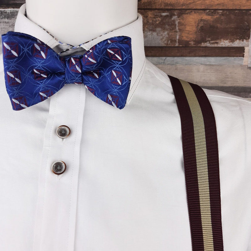 Woven Red Squares on Blue Silk Ready-Tied Bow Tie - Bow Ties - - ThreadPepper