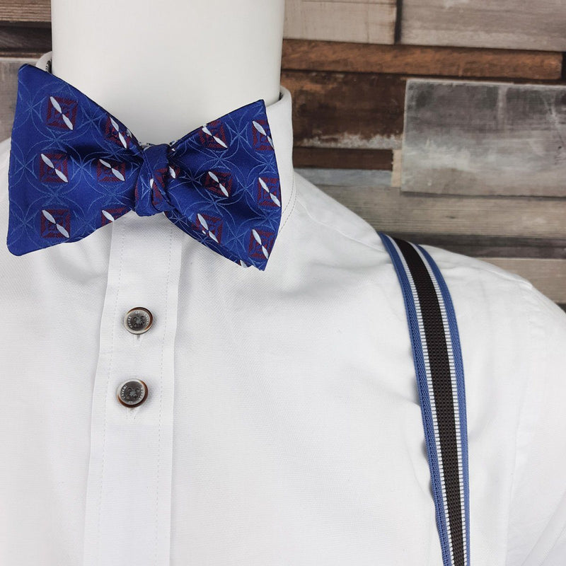 Woven Red Squares on Blue Silk Self-Tie Bow Tie - Bow Ties - - ThreadPepper