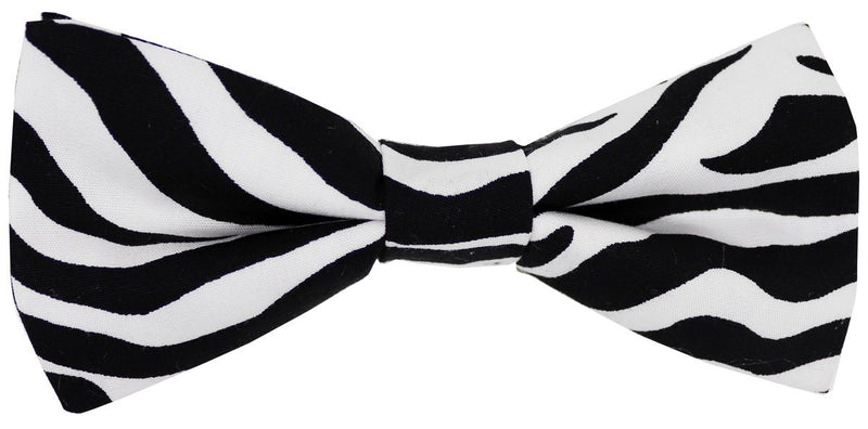 Zebra Stripes Pre-Tied Bow Tie - Bow Ties - - ThreadPepper