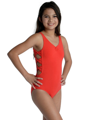Side Bow Tank Leotard- RED