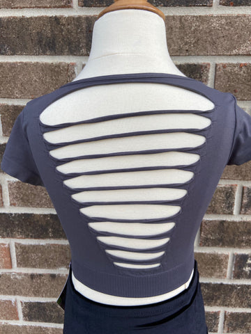 Grey Slashed Cap sleeve crop