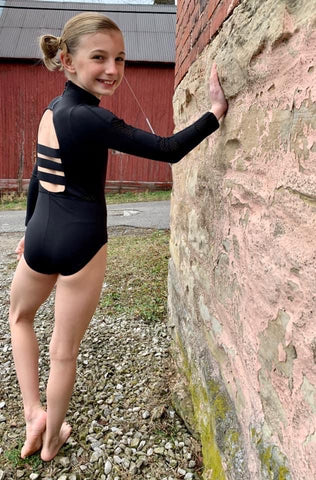 Mesh Black Long Sleeve Leotard Child AND Adult