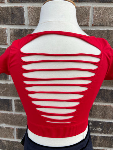 Red Slashed Cap sleeve crop