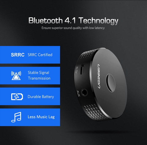 Ugreen 4.1 Bluetooth Receiver Wireless Music Adapter 3.5mm Jack Aux Receiver with Battery Headphone Car Audio Bluetooth Receiver