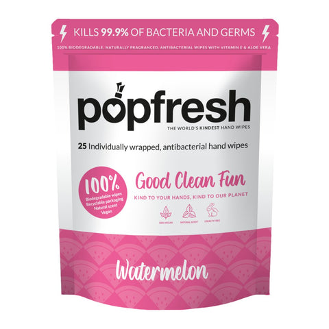 Watermelon scented Popfresh hand wipes 25 pack – antibacterial and biodegradable with vitamin E and aloe vera