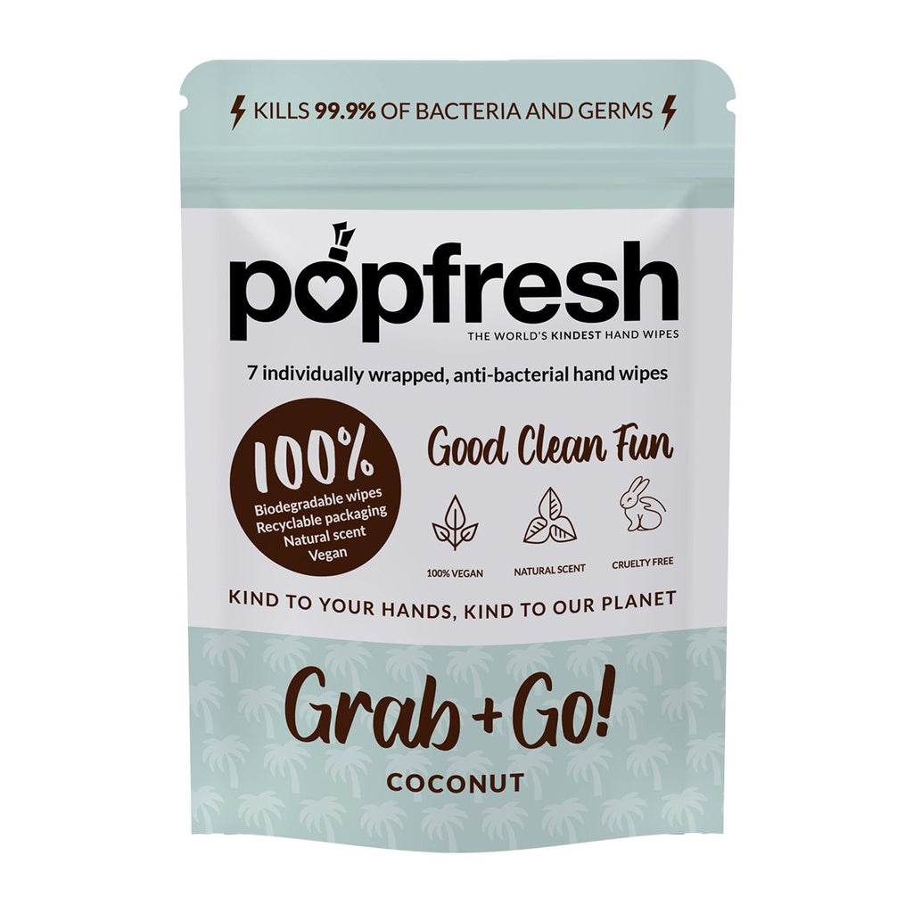 Coconut scented Popfresh hand wipes Grab & Go 7 pack – antibacterial and biodegradable with vitamin E and aloe vera