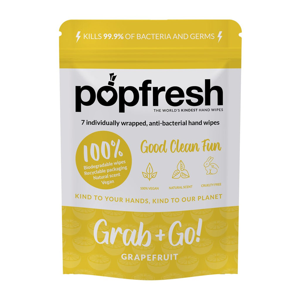 Grapefruit scented Popfresh hand wipes Grab & Go 7 pack – antibacterial and biodegradable with vitamin E and aloe vera