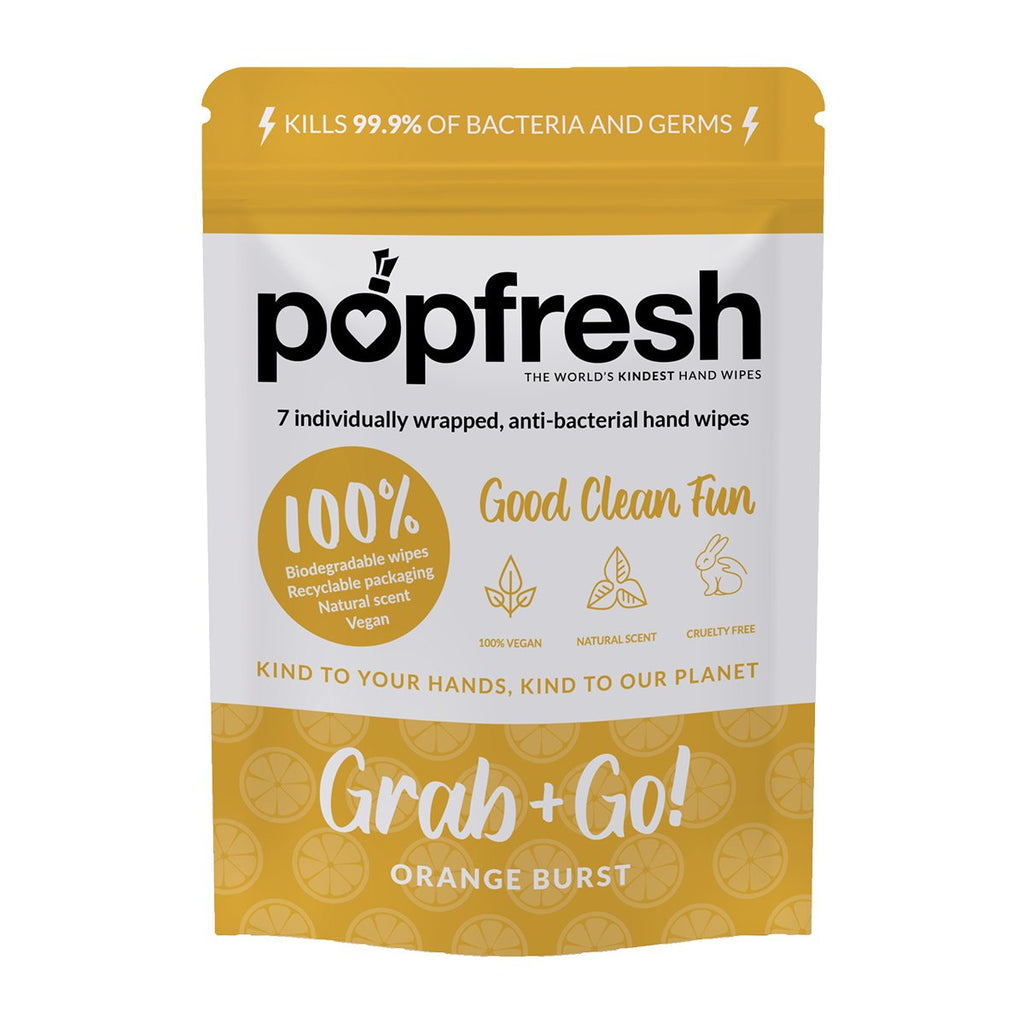 Orange scented Popfresh hand wipes Grab & Go 7 pack – antibacterial and biodegradable with vitamin E and aloe vera