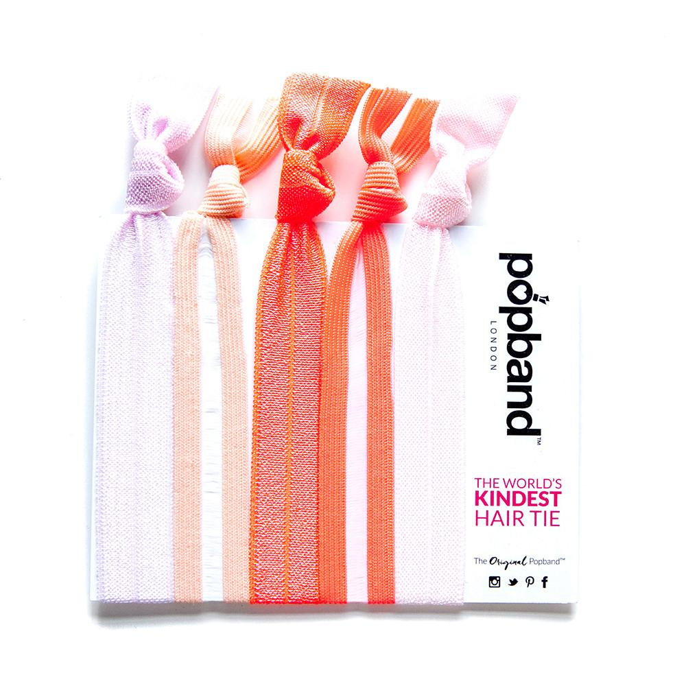 Grapefruit | Printed Popband Hair Bands | Pink, Peach & Orange Hair Ties with Clear Mesh Panel