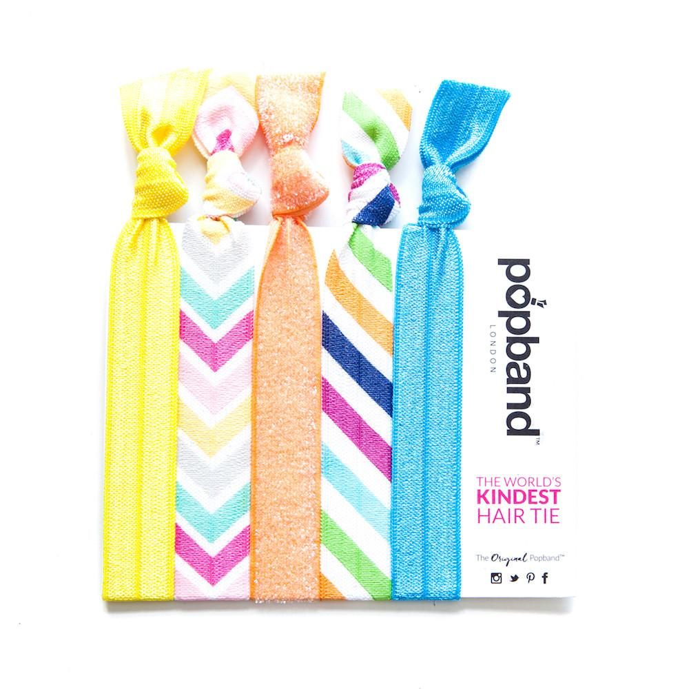 Brighton Rock | Printed Popband Hair Bands | Multicolour Chevron Striped Print Hair Ties